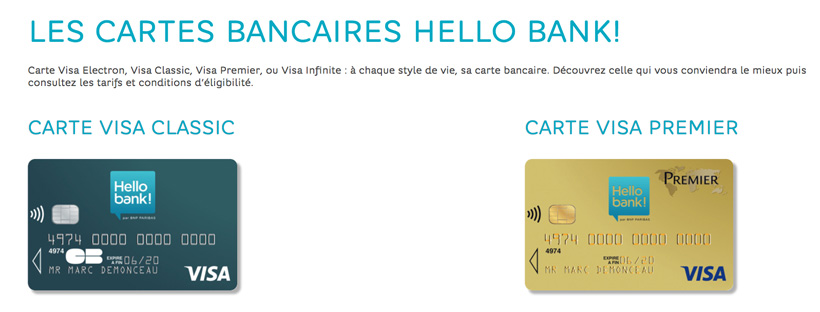 Cartes bancaires Hello Bank!